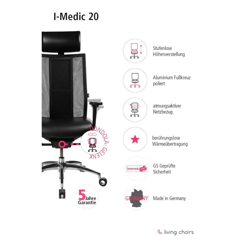 Premium Bürostuhl Wagner iMedic mit Akku mit Kopfstütze (Rückenlehne schwarz / Sitzfläche Leder / Fußkreuz Aluminium poliert)