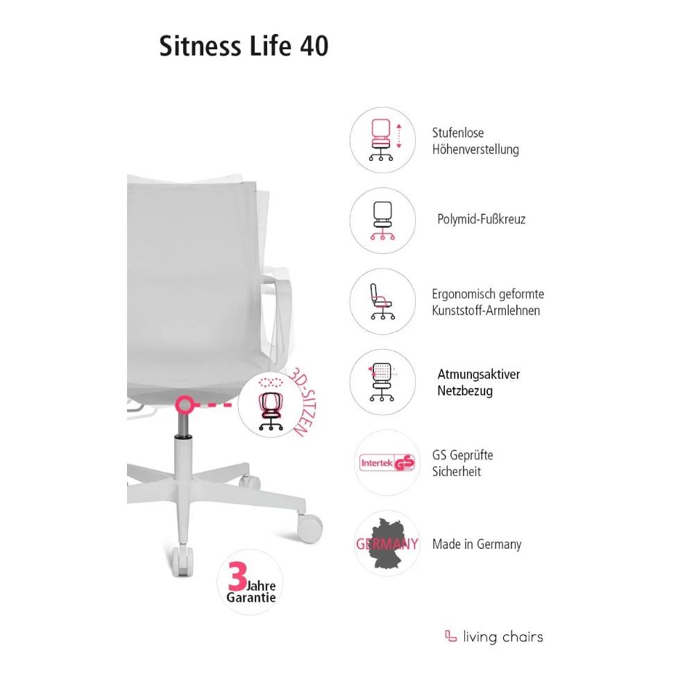 Home-Office Stuhl Topstar Sitness Life 40 weiss
