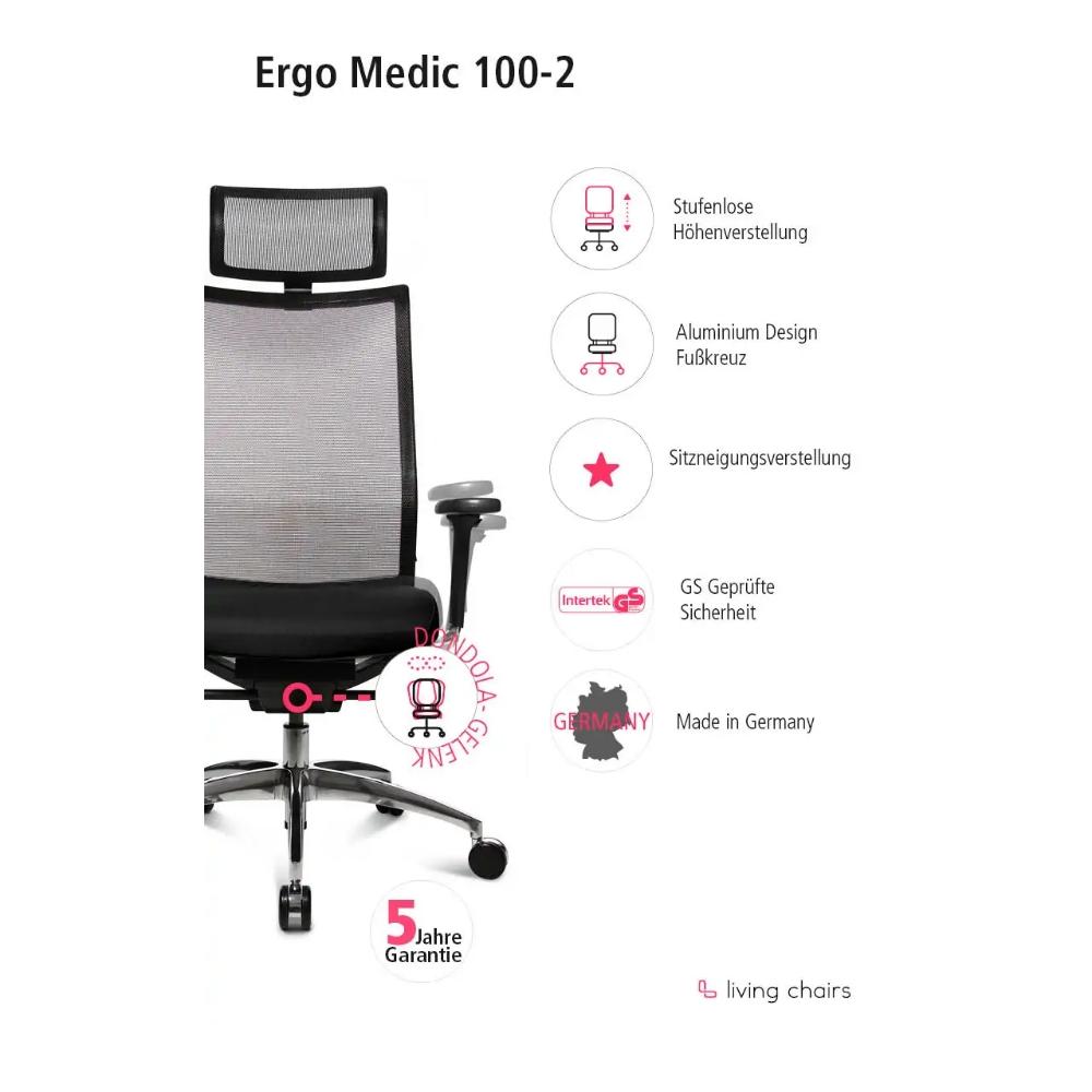 Premium Bürostuhl Wagner ErgoMedic 100-2 mit Kopfstütze