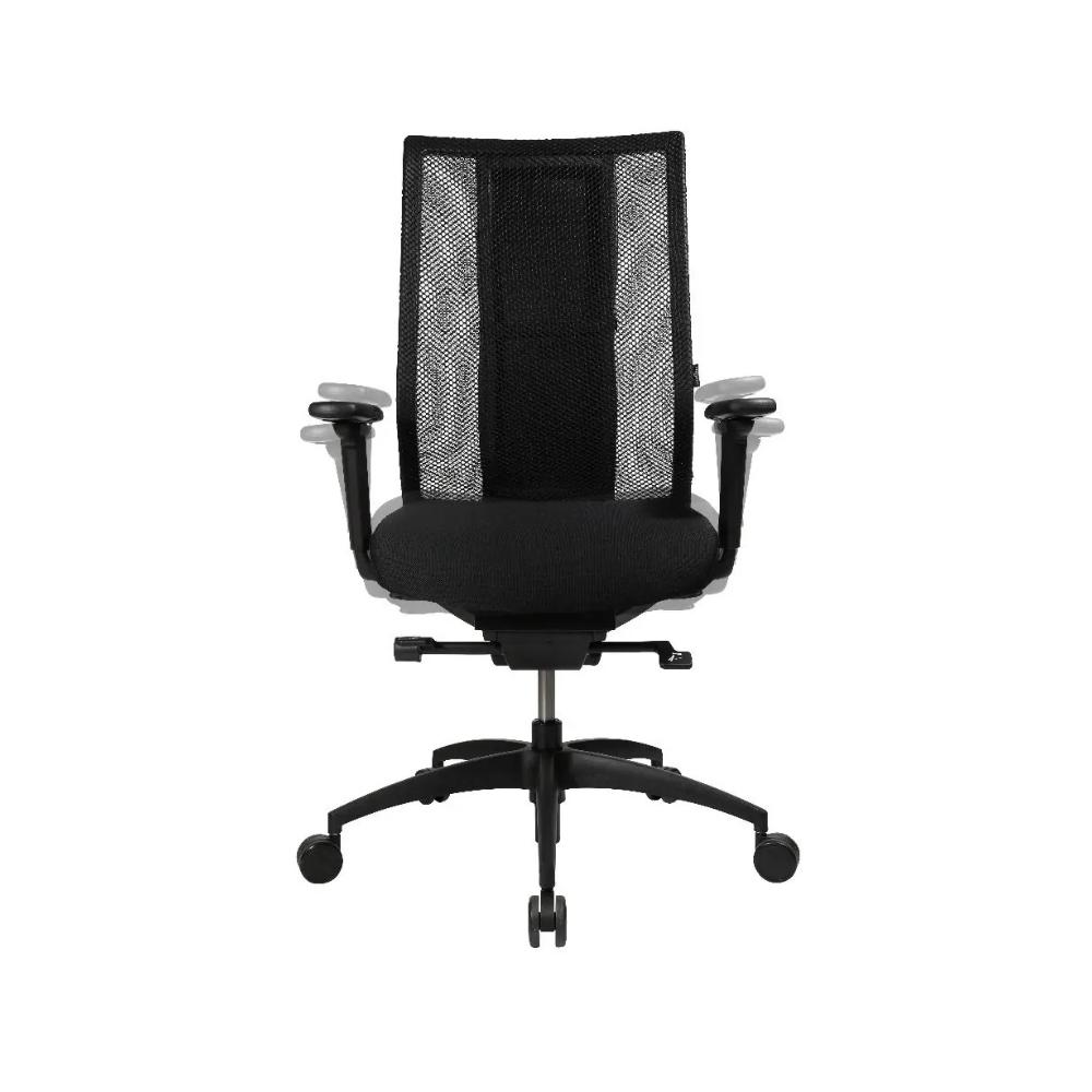 Premium Bürostuhl Wagner iMedic mit Akku ohne Kopfstütze (Rückenlehne schwarz / Sitzfläche Netz / Fußkreuz Aluminium poliert)