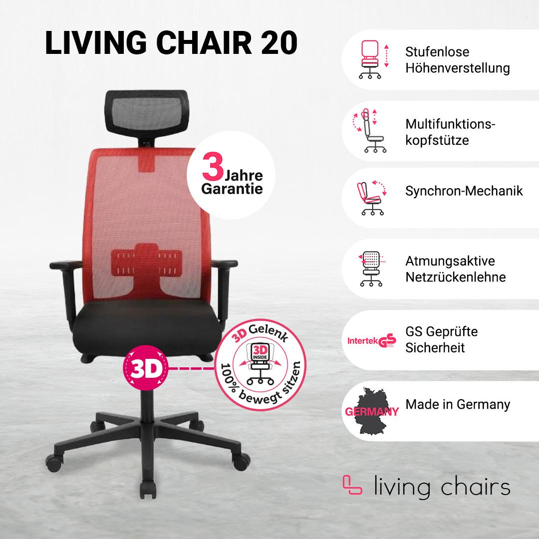 Bürostuhl Living Chair 20 rot