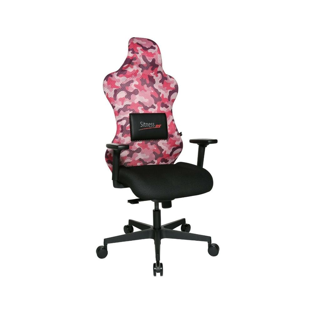 Gaming Stuhl Topstar Sitness RS Sport camouflage pink mit Lordosenkissen