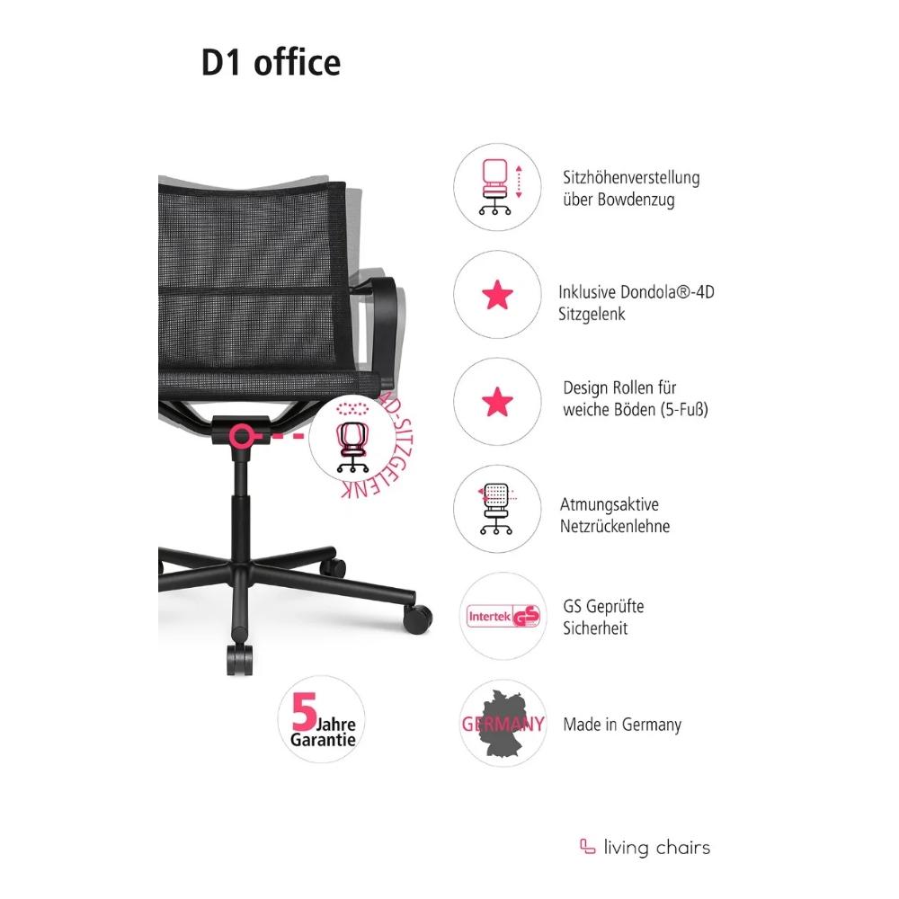Bürostuhl Wagner D1 schwarz - mit Rollen und Armlehne